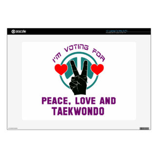 """Peace Love And Taekwondo. Decals For 15"""" Laptops"""