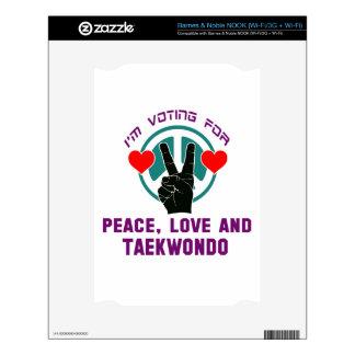 Peace Love And Taekwondo. NOOK Decal