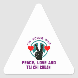 Peace Love And Tai Chi Chuan. Triangle Sticker