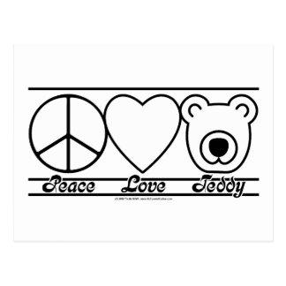 Peace Love and Teddy Postcard