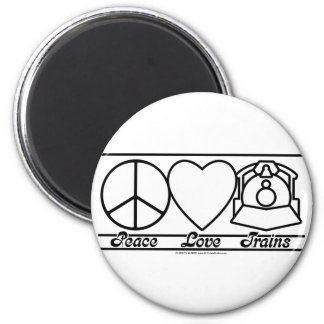 Peace Love and Trains 2 Inch Round Magnet