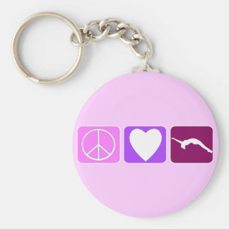 Peace Love and Tumble Basic Round Button Keychain