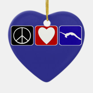Peace Love and Tumble Double-Sided Heart Ceramic Christmas Ornament