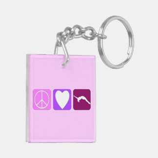 Peace Love and Tumble Double-Sided Square Acrylic Keychain