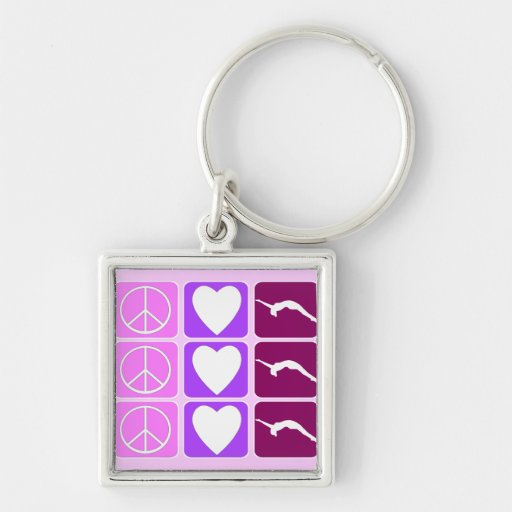 Peace Love and Tumble Silver-Colored Square Keychain