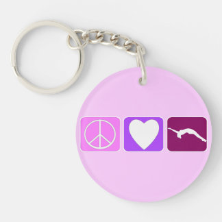 Peace Love and Tumble Single-Sided Round Acrylic Keychain