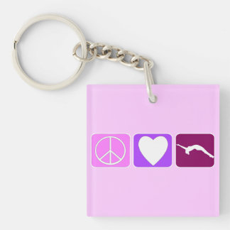 Peace Love and Tumble Single-Sided Square Acrylic Keychain
