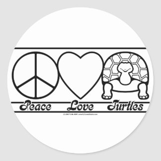 Peace Love and Turtles Classic Round Sticker