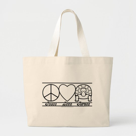 Peace Love and Turtles Large Tote Bag