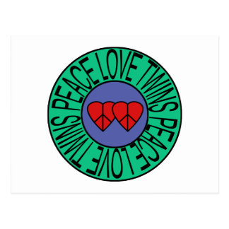 Peace Love and Twins - Circle Postcard