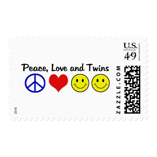 Peace Love and Twins Postage
