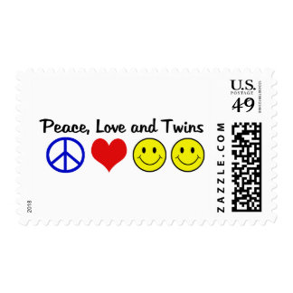 Peace Love and Twins Postage Stamp