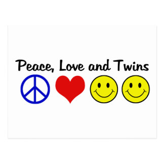 Peace Love and Twins Postcard