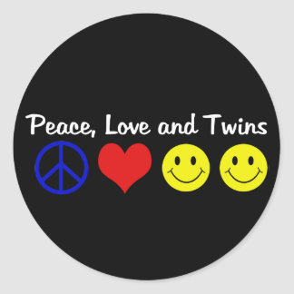Peace Love and Twins Round Stickers
