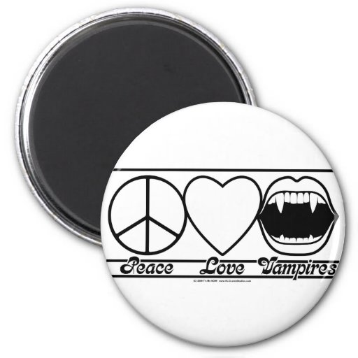 Peace Love and Vampires 2 Inch Round Magnet