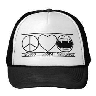 Peace Love and Vampires Trucker Hats