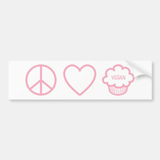 Peace, Love and Vegan Cupcakes Bumper Sticker