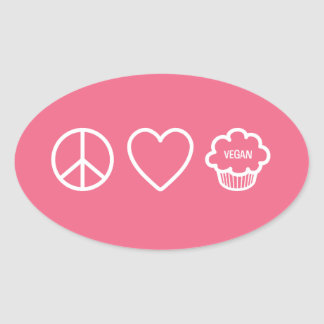 Peace, Love and Vegan Cupcakes Oval Sticker