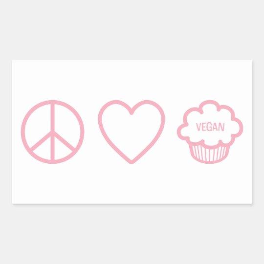 Peace, Love and Vegan Cupcakes Rectangular Sticker