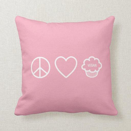 Peace, Love and Vegan Cupcakes Throw Pillow