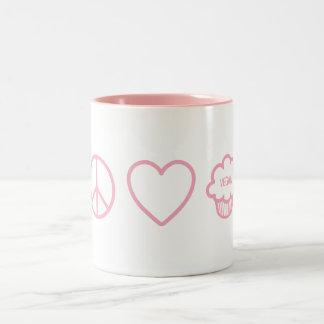 Peace, Love and Vegan Cupcakes Two-Tone Coffee Mug