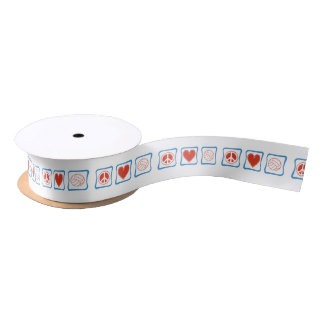 Peace Love and Volleyball Squares Satin Ribbon