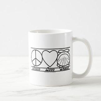 Peace Love and Whales Coffee Mug