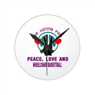 Peace Love And Wheelchair basketball. Round Wallclock