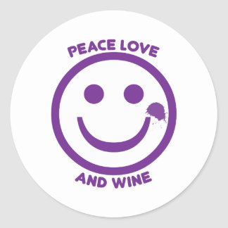 Peace Love And Wine Classic Round Sticker