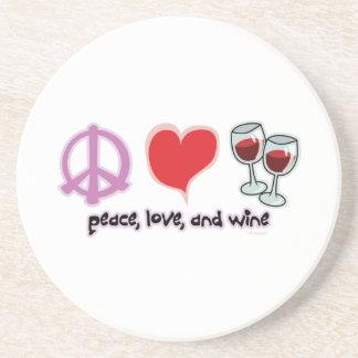 Peace, Love, and Wine Sandstone Coaster