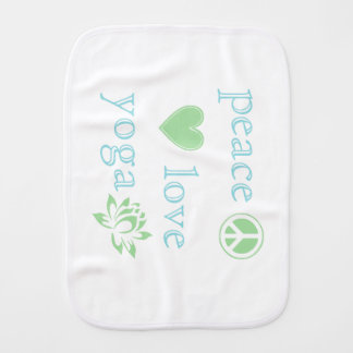 Peace Love and Yoga Baby Burp Cloth