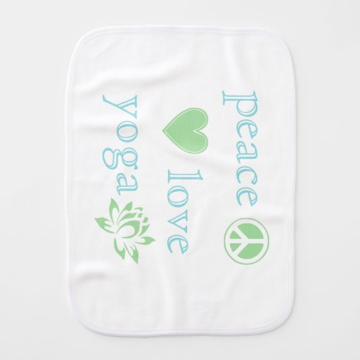 Baby Gifts Yoga : Peace love and yoga baby burp cloth zazzle