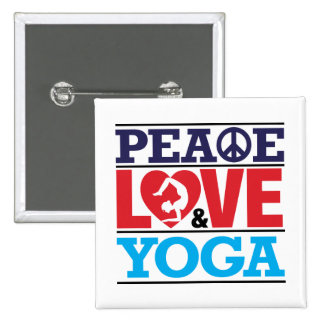 Peace, Love and Yoga Button