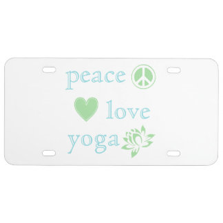 Peace Love and Yoga License Plate