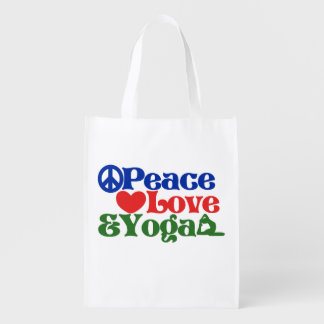 Peace love and yoga market tote
