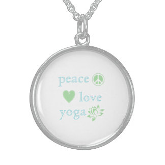 Peace Love and Yoga Sterling Silver Necklace