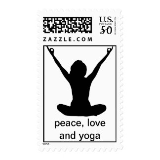 Peace. Love and Yoga  - Real Stamps! Postage