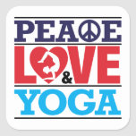 Peace, Love and Yoga Sticker