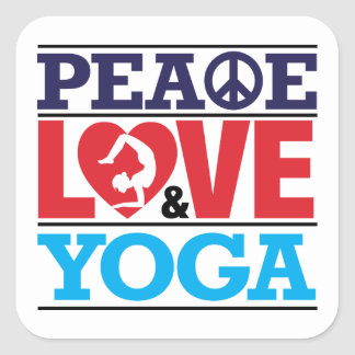 Peace, Love and Yoga Sticker
