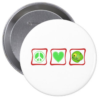 Peace Love and Zombies Squares 4 Inch Round Button