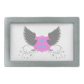 Peace Love Angel Wings Design Rectangular Belt Buckles