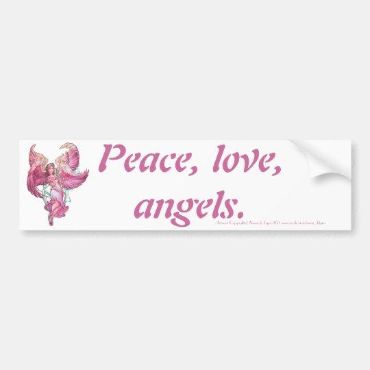 Peace, love, angels. bumper sticker
