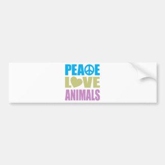 Peace Love Animals Bumper Sticker