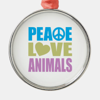Peace Love Animals Metal Ornament