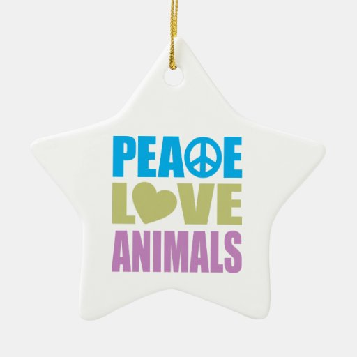 Peace Love Animals Double-Sided Star Ceramic Christmas Ornament