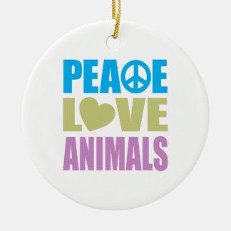 Peace Love Animals Christmas Tree Ornaments