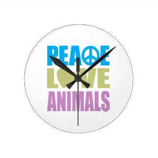 Peace Love Animals Round Clock
