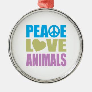 Peace Love Animals Round Metal Christmas Ornament