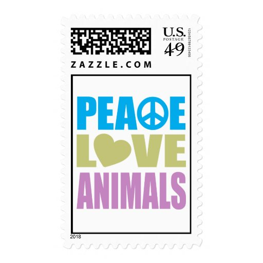 Peace Love Animals Stamp