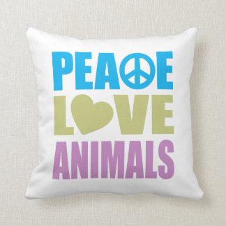 Peace Love Animals Throw Pillow